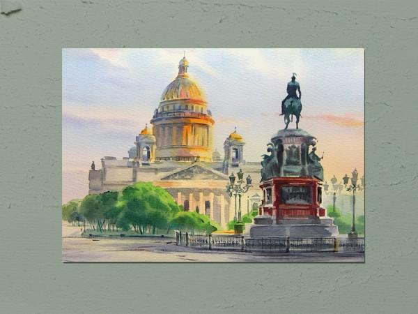 Открытка почтовая «Исаакиевская площадь» Художника  О. Литвиненко.
