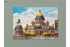 Открытка почтовая «Исаакиевская площадь. Осень» Художника  Т. Юмадилова