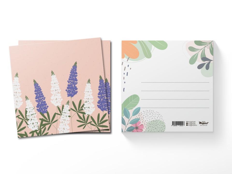 Почтовая открытка квадратная (13х13) Люпины