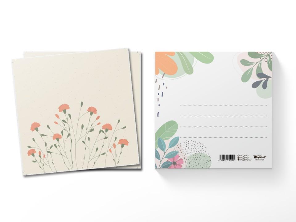 Почтовая открытка квадратная (13х13) Гвоздики