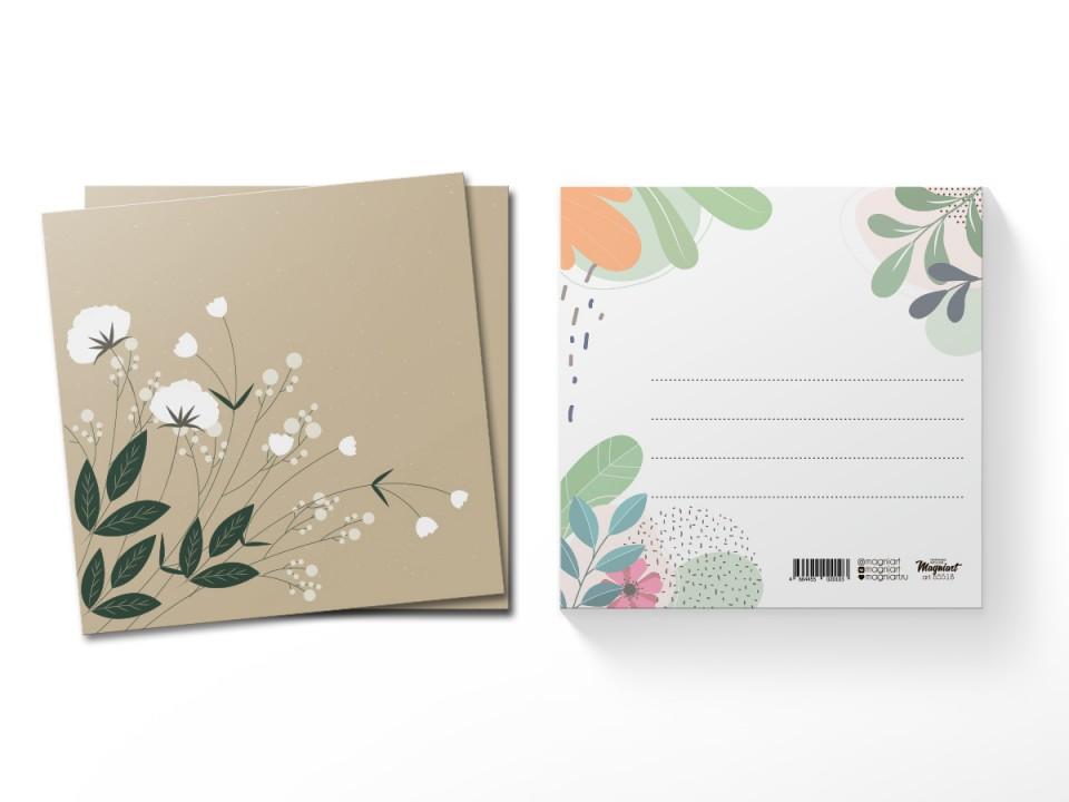 Почтовая открытка квадратная (13х13) Лютики