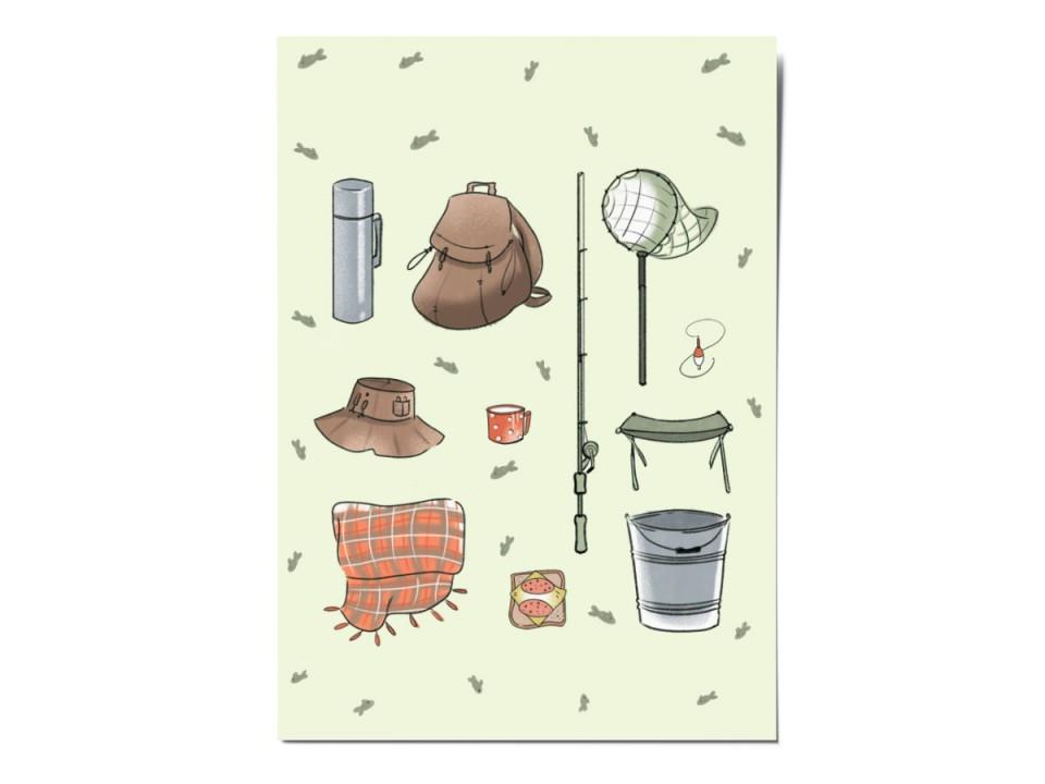 Открытка почтовая «На рыбалку», иллюстратор Вика Булкова