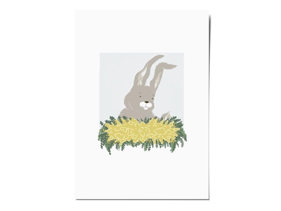 Открытка почтовая «Зайчик с букетом», иллюстратор Вика Булкова