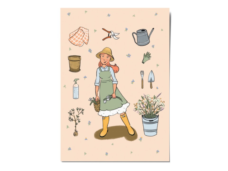 Открытка почтовая «Садовник», иллюстратор Вика Булкова