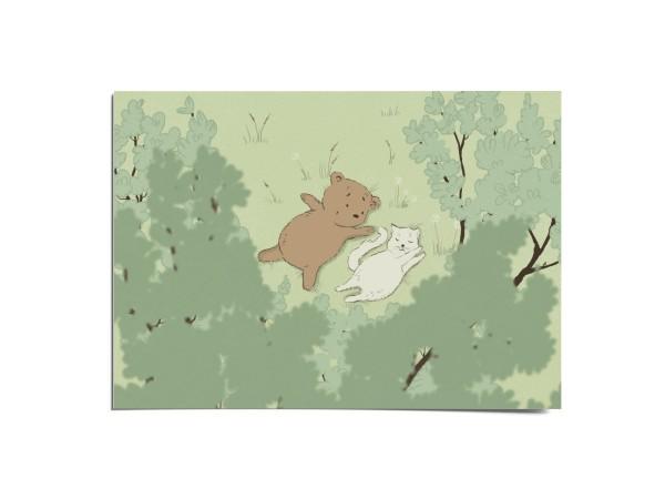 Открытка «Медвежонок и кошечка» , Вика Булкова