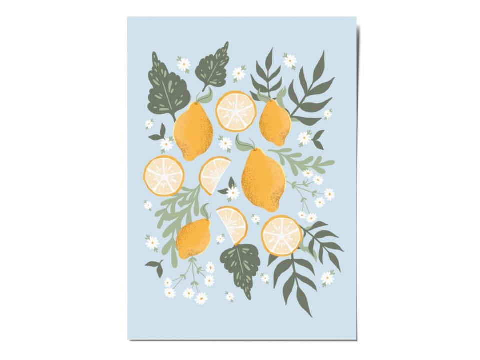 Открытка почтовая «Лимоны», иллюстратор Вика Булкова