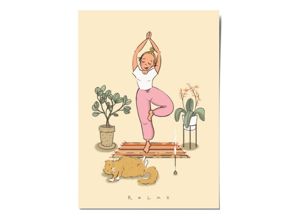 Открытка почтовая «Йога», иллюстратор Вика Булкова