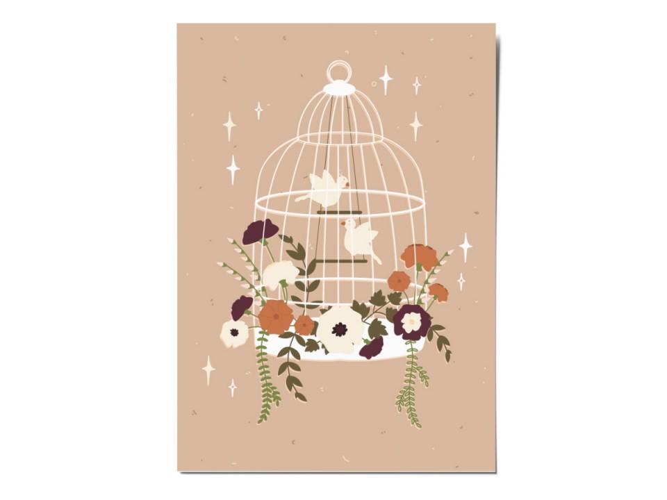 Открытка почтовая «Цветы в клетке», иллюстратор Вика Булкова
