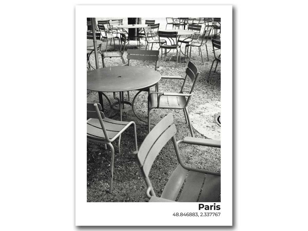 Открытка Париж, столики кафе