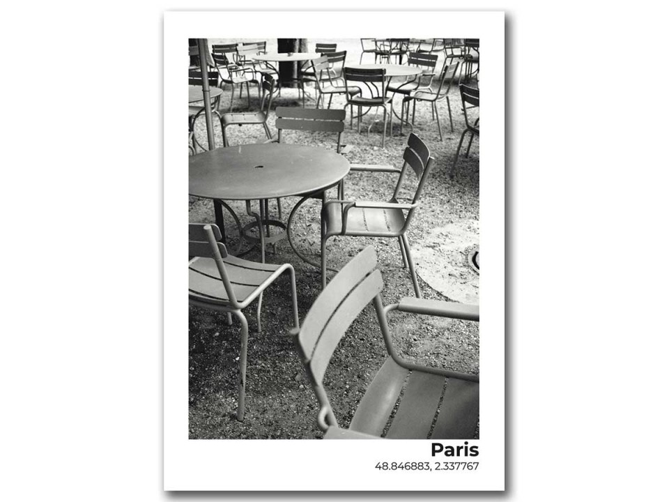 Авторская фото открытка Париж, столики кафе