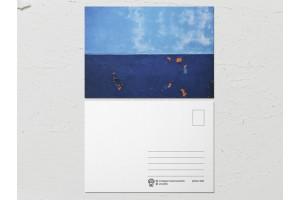 Открытка «Краски на стенах», сине голубая стена