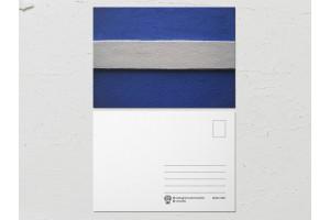 Открытка «Краски на стенах», сине-белая стена