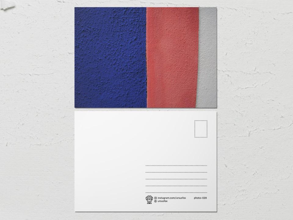 Авторская фото открытка «Краски на стенах», бело-красно-синяя