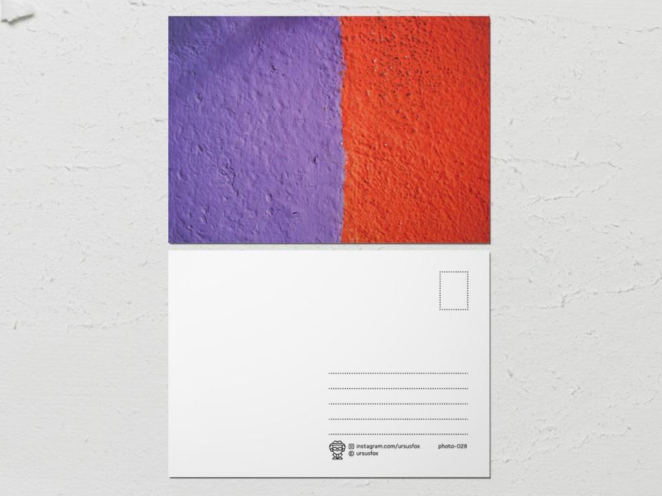 Авторская фото открытка «Краски на стенах», фиолетово-красная
