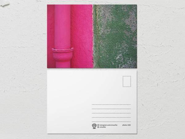 Открытка «Краски на стенах», розово зеленая стена