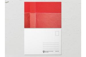 Открытка «Краски на стенах», красно-розовая стена