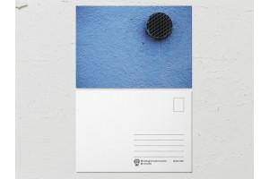 Открытка «Краски на стенах», голубая стена