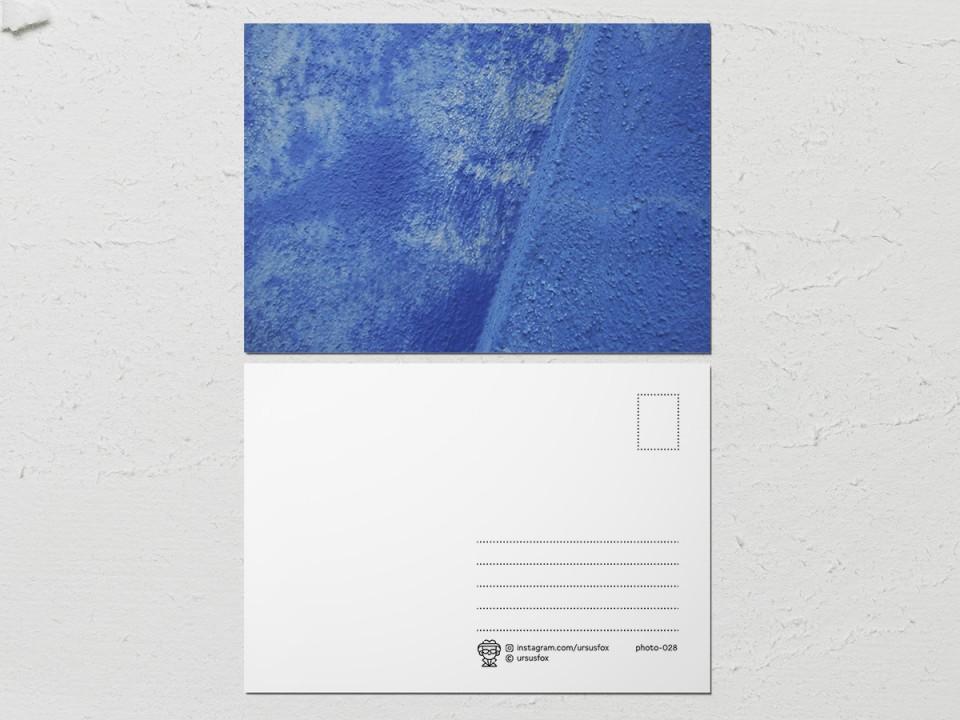 Авторская фото открытка «Краски на стенах», сине голубая стена