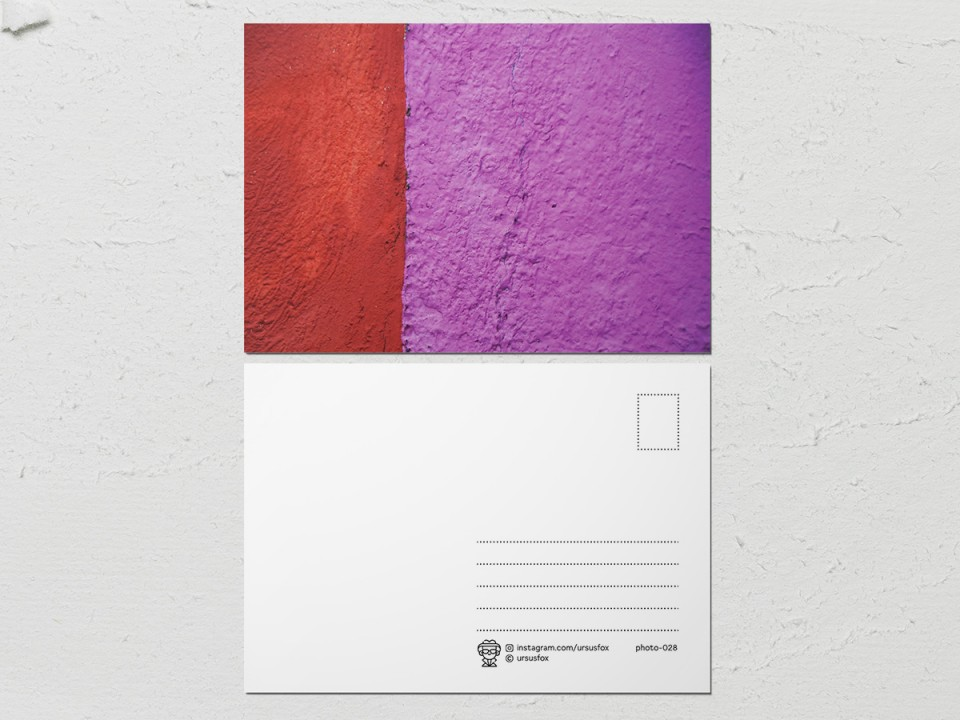 Авторская фото открытка «Краски на стенах», красно розовая стена