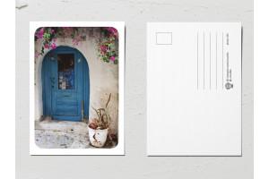 Открытка «Двери мира», старая синяя дверь 19