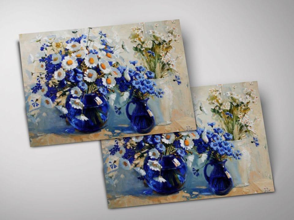 Открытка - постер «Бело-синее настроение» из коллекции работ Марии Павловой