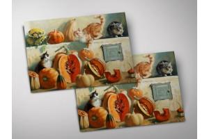 Открытка - постер «Коты и тыквы на печке», Мария Павлова