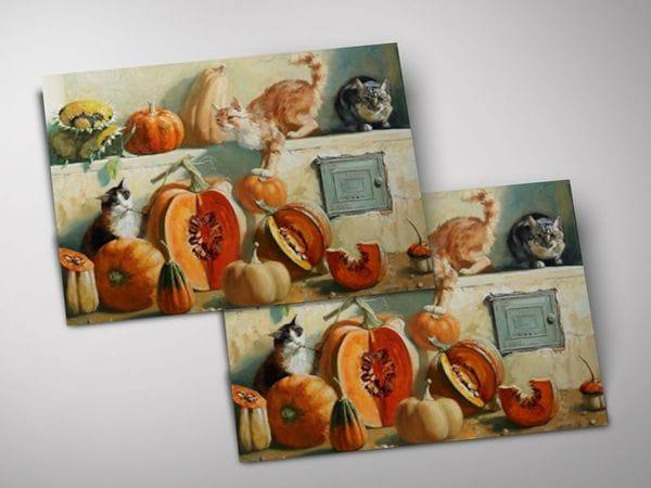 Открытка - постер «Коты и тыквы на печке»