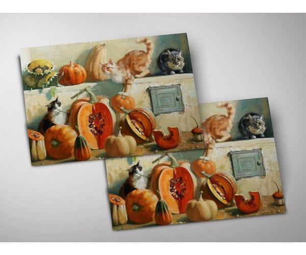 Открытка - постер «Коты и тыквы на печке» из коллекции работ Марии Павловой