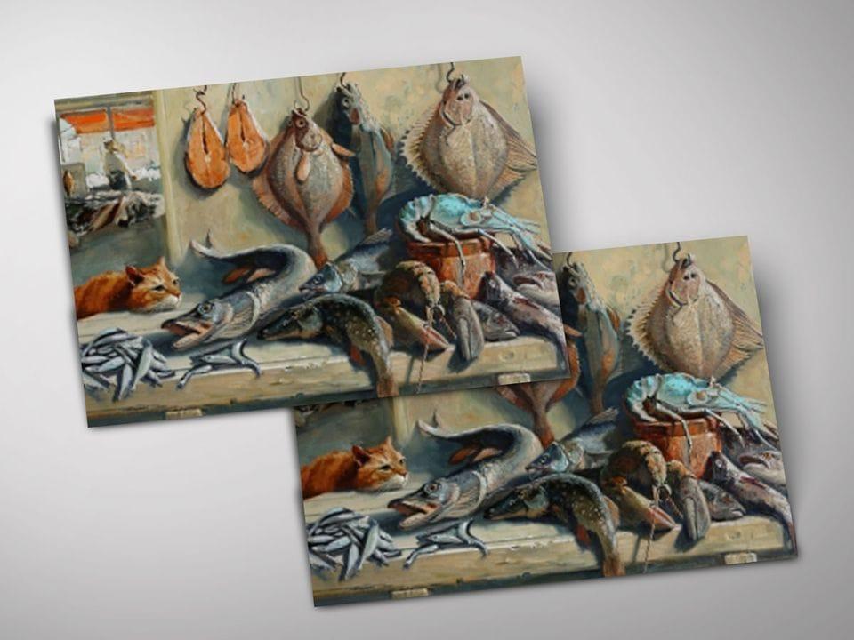 Открытка - постер «В рыбной лавке» из коллекции работ Марии Павловой