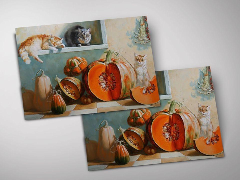 Открытка - постер «Коты и тыквы» из коллекции работ Марии Павловой