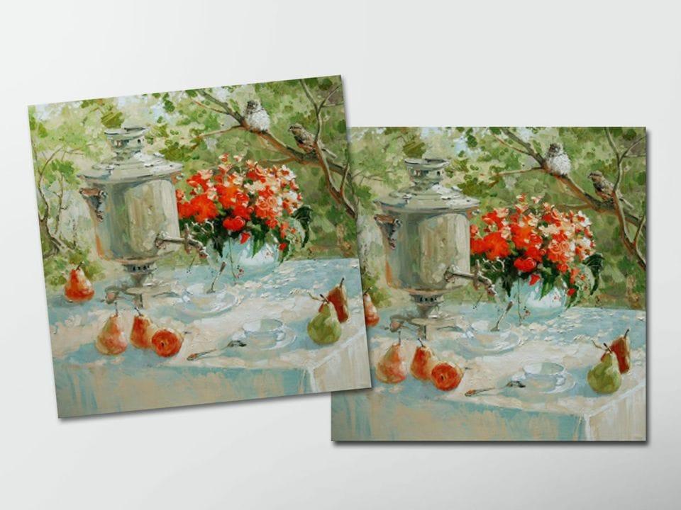 Открытка - постер «Чай для двоих» из коллекции работ Марии Павловой
