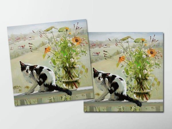 Открытка - постер «Утро в деревне». Кот на веранде с цветами, Мария Павлова