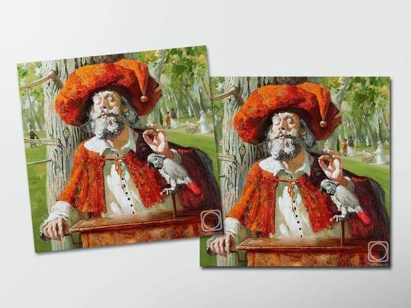 Открытка - постер «Шарманщик» в парке с попугаем, Мария Павлова