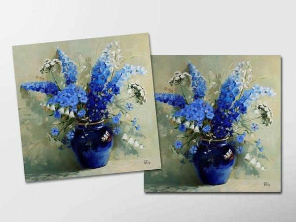 Открытка - постер «Синий букет», Мария Павлова