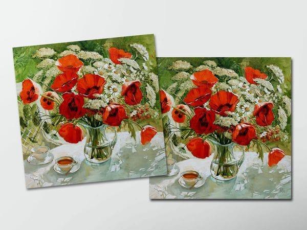 Открытка - постер «Букет маков, чаепитие», Мария Павлова