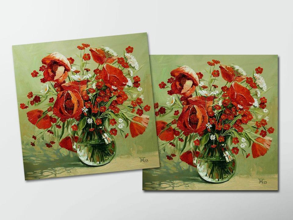 Открытка - постер «Букет маков» из коллекции работ Марии Павловой
