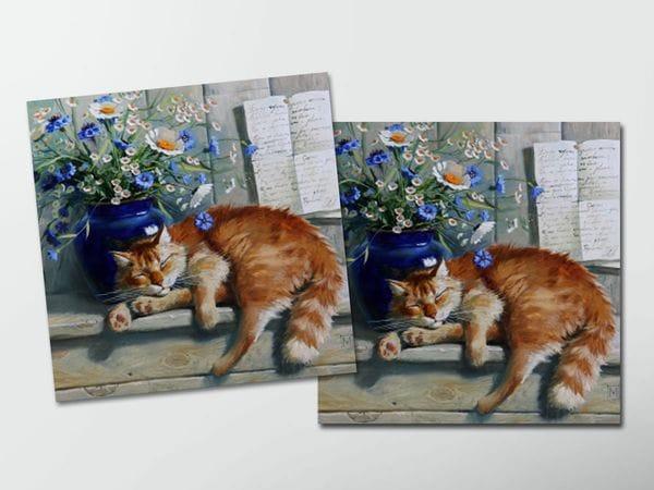 Открытка - постер «Рыжий кот» спит, Мария Павлова