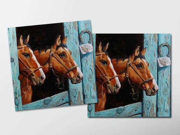 Открытка - постер «Лошади», Мария Павлова