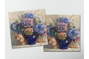 Открытка - постер «Гортензии» с котом, Мария Павлова