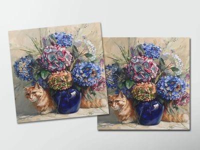 Открытка - постер «Гортензии» с котом