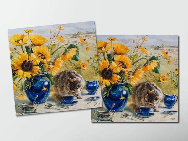 Открытка - постер «Подсолнухи и кот», Мария Павлова