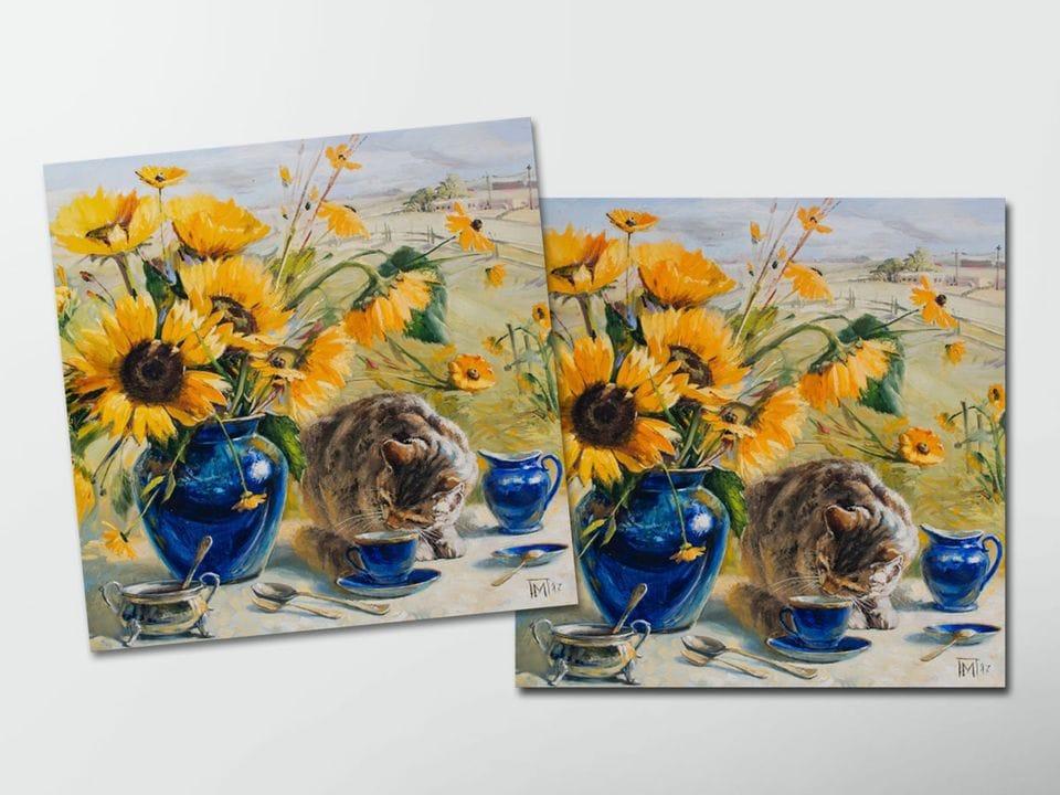 Открытка - постер «Подсолнухи и кот» из коллекции работ Марии Павловой