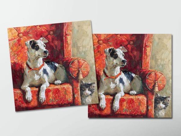Открытка - постер «Красное кресло и пес»