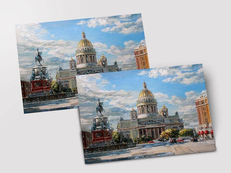 Почтовая открытка «Исаакиевская площадь» из коллекции работ Артемиса
