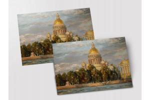 Почтовая открытка «Исаакий на закате», Петербург