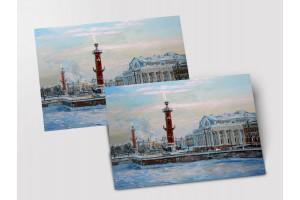 Почтовая открытка «Стрелка Васильевского острова зимой», Петербург
