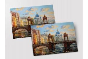 Почтовая открытка «Мост Ломоносова», Петербург