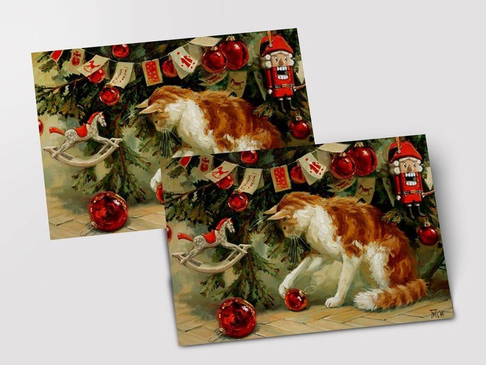 Почтовая открытка «Новогодние шары» из коллекции работ Марии Павловой