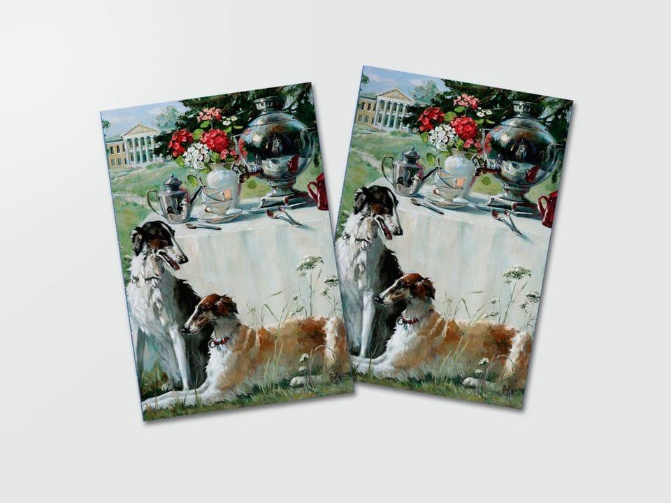 Почтовая открытка «Две борзые» из коллекции работ Марии Павловой