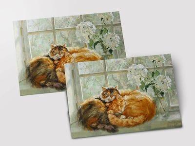 Открытка «Двое рыжих котов»